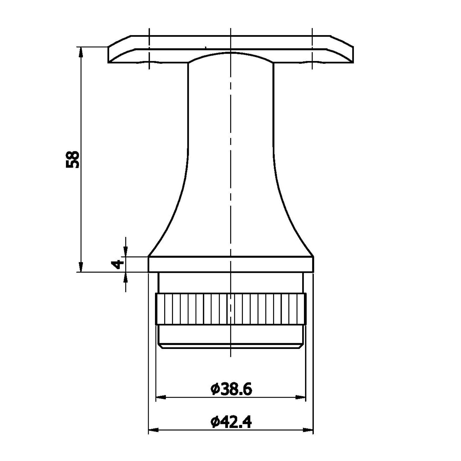 Edelstahl Handlaufstütze konisch für Rundpfosten 42,4 mm Handlaufhalter 2er Set